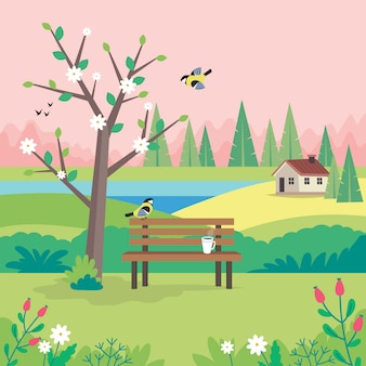 Spring landscape with bench, flourishing tree, house, fields and nature.