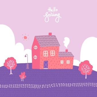 아늑한 집, 들판 및 자연과 함께 봄 풍경.