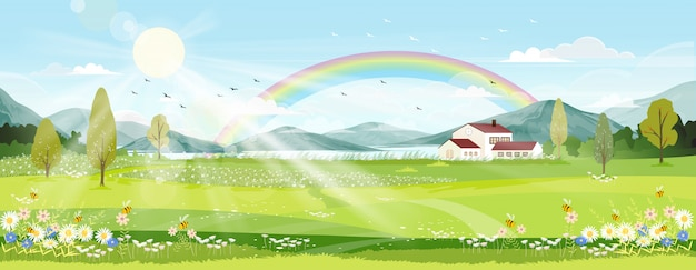 Spring landscape with farm field, wild flowers, blue sky and rainbow