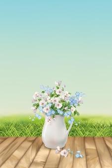 Весенний пейзаж с травой и красивым букетом в белом кувшине