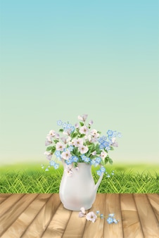 Spring landscape with grass and beautiful bouquet in white pitcher
