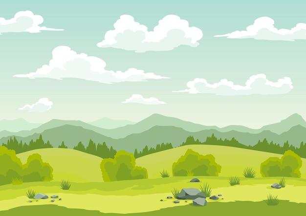緑の草、丘、雲と青い空と春の風景。自然の田園地帯の背景