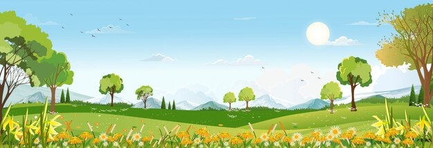 Spring landscape with peaceful rural nature in springtime with wild grass land, farm house, mountain, sun, blue sky and clouds