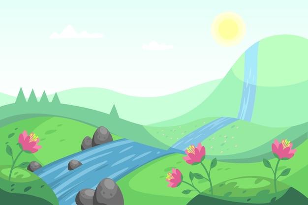 川と自然の春の風景