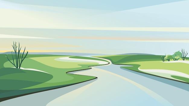 夜明けに川のある春の風景