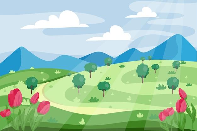 Весенний пейзаж с дорогой и тюльпанами