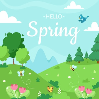 木のイラストデザインと春の風景