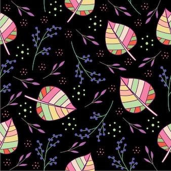 Spring leaf flower pattern design vector template