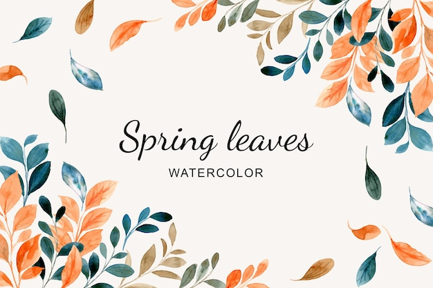 Spring leaves background with watercolor
