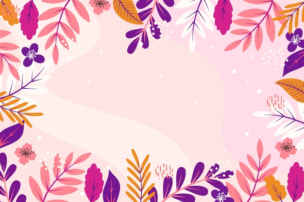 Spring leaves flat design copy space frame background