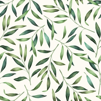 Spring leaves hand drawn seamless pattern. botanical background.
