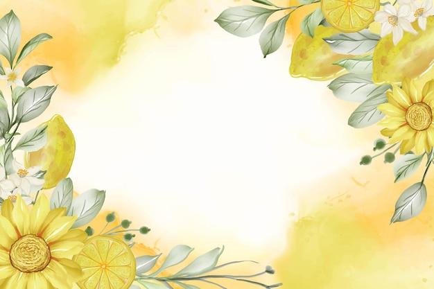 春のレモンの花の水彩フレームの背景