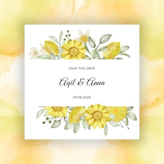Spring lemon flower watercolor   wedding invitation