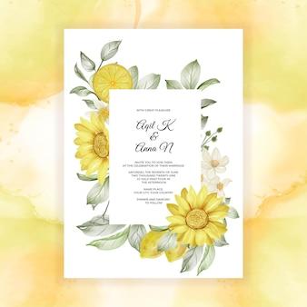 春のレモンの花の水彩画の結婚式の招待状