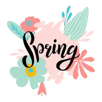 Весной надписи дизайн логотипа. открытка, карточка, приглашение, флаер, шаблон баннера. надпись типографии весна с абстрактными пастельными листьями и цветами. рука набросал текст как логотип, значок и значок.