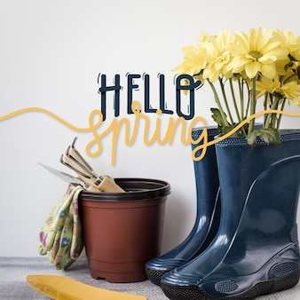 Spring lettering design with photo