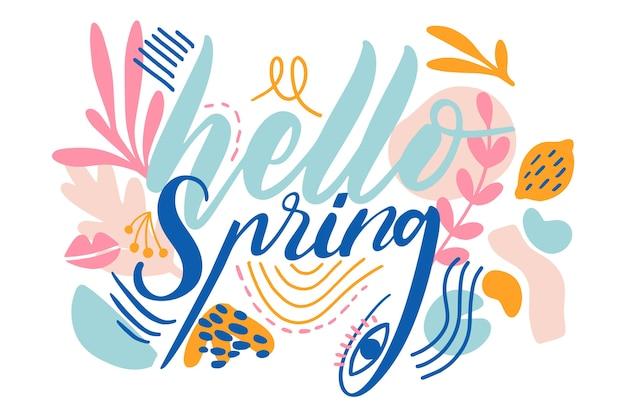 Spring lettering flat design
