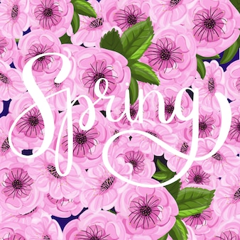 Spring lettering on floral spring background