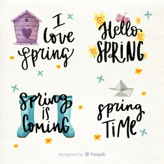 Spring lettering quote collection