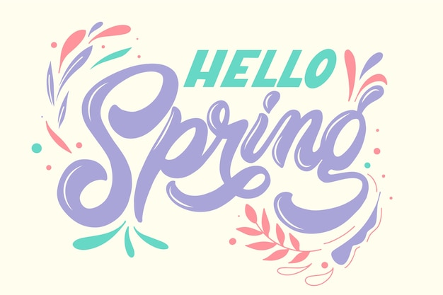 Spring lettering with colorful decoration