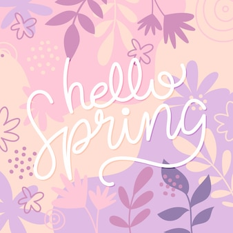 Spring lettering with drawn colorful flowers