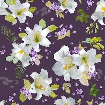 봄 백합 꽃 배경-원활한 꽃 누추한 세련된 패턴-