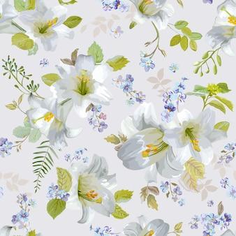 春のユリの花の背景-シームレスな花のぼろぼろのシックなパターン-で