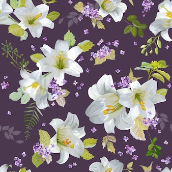 Spring lily flowers backgrounds - seamless floral shabby chic pattern - in
