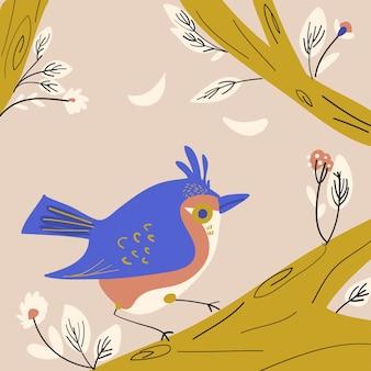 Spring little birds illustration