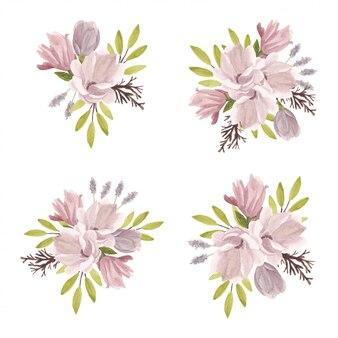春のマグノリアの花の花束水彩イラスト