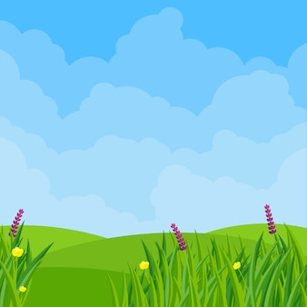 フラットなデザインイラストの春の草原の花
