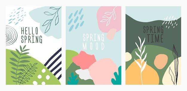 春のメンフィスデザインポスターセット。抽象的な幾何学的形状の背景。緑のベクトル図。ポスター、表紙、チラシ、バナーテンプレート。