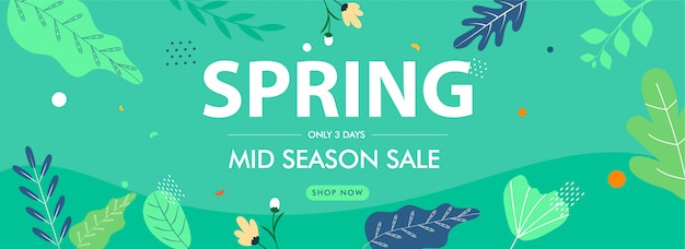 Spring & mid season sale header or banner design with flowers and leaves decorated on green