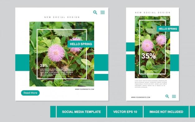 春のモダンなコンセプトのソーシャルメディアの投稿コレクション
