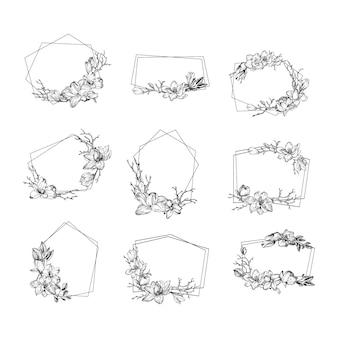 Весенняя современная рамка с цветами магнолии, листьями и ветвями в стиле гравюры