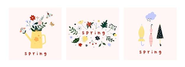봄 분위기 인사말 카드 템플릿입니다.