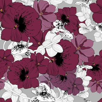 Spring natural hand drawn seamless pattern with colorful and monochrome orchid flowers