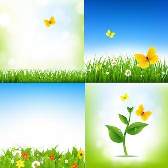 그라디언트 메쉬 일러스트와 함께 잔디 테두리와 꽃 봄 자연 배경