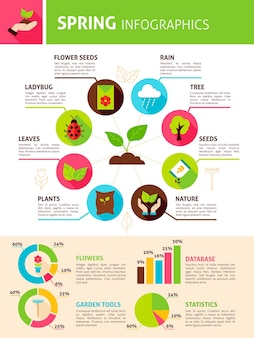 Spring nature infographics. flat design vector illustration of garden concept with text.