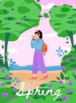 Spring nature landscape design with walking girl flat vector illustrationt