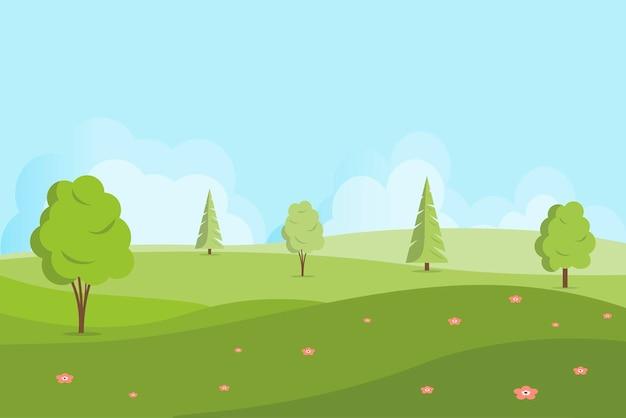 丘や木々のある春または夏の風景