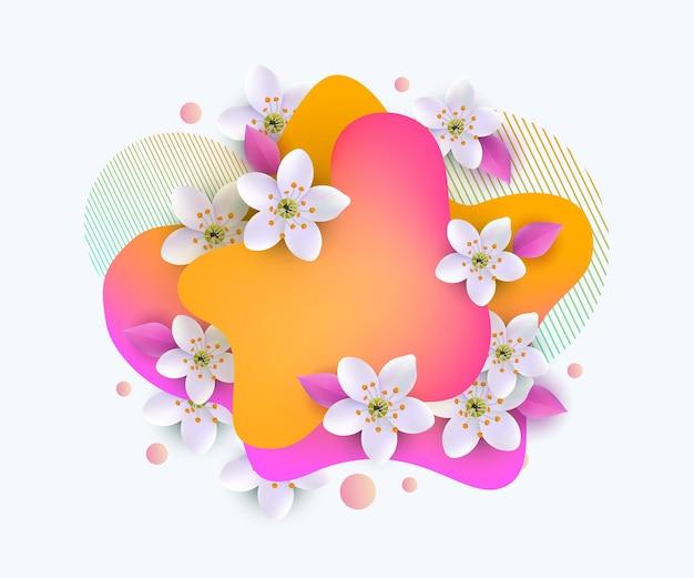 Весенний или летний сезонный баннер с процветанием. шаблон оформления пятен и цветов.