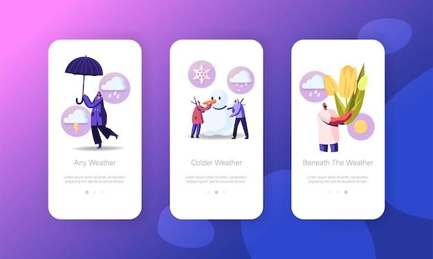 봄 또는 겨울 날씨 모바일 앱 페이지 화면 템플릿.