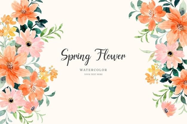 수채화와 봄 오렌지 꽃 배경