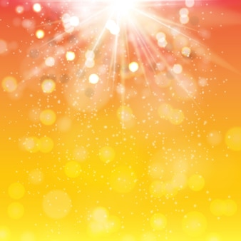 Spring orange and red background with sparkles and rays. eps10
