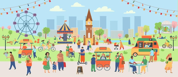 Spring park with people. big set of people in spring. people walking, eating on a cafe, drinking, walking dogs, cycling, riding a scooter, singing songs. flat cartoon vector illustration.