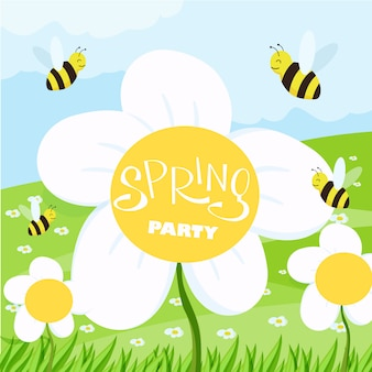Spring party cartoon landscape with trees and clouds