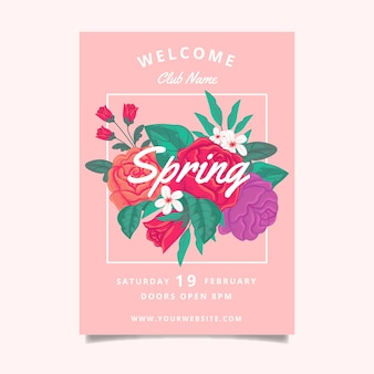 Spring party floral poster template concept