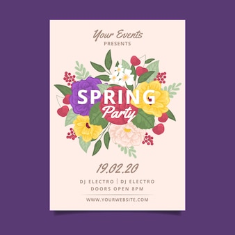 Spring party floral poster template theme