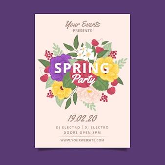 Весенняя вечеринка цветочный постер шаблон темы